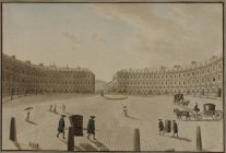 Etching of the Circus in 1773 by John Robert Cozens (Victoria Art Gallery, Bath)