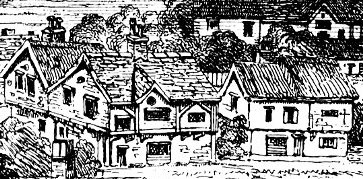 Southwark houses in 1543 from the Panorama of Londonm, Westminster and Southwark by Anthony Van den Wyngaerde