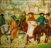 15C manuscript illumination showing pilgrims outside Canterbury             (British Library)