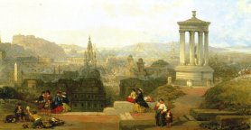 View of             early Victorian Edinburgh by David Roberts (Guildhall Art             Gallery, London)