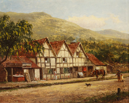 The Old Blacksmith's Shop, Great Malvern, Worcestershire' by Benjamin Williams Leader 1871 (Worcestershire City Museum)