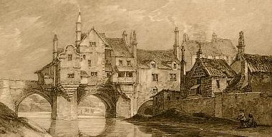 Elvet Bridge, Durham, etching J.C. Varrall from a drawing by Thomas Herne