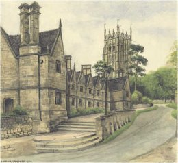 Almshouses in Chipping Camden 1928 by William Green
