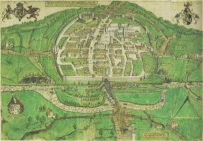 Hooker's map of Exeter 1587. Click to enlarge in pop-up windoW