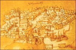 Plymouth from harbour chart c.1539 (British Library)